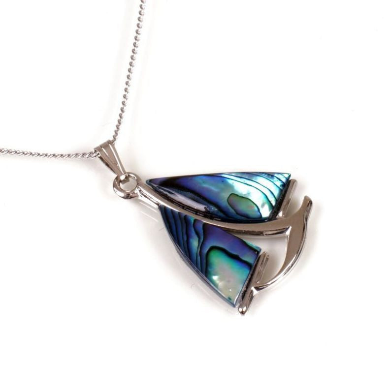 Paua Pendant Palladium Plated – Sailboat