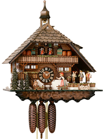 Large 8-Day Mechanical Musical Husli House Cuckoo Clock with Band and Dancers