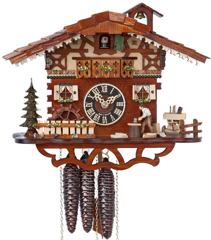 Large 1-Day Mechanical Chalet Musical Cuckoo Clock with Wood-chopper
