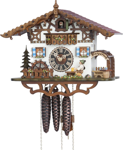 Large 1-Day Mechanical Chalet Musical Cuckoo Clock with Beer-drinker