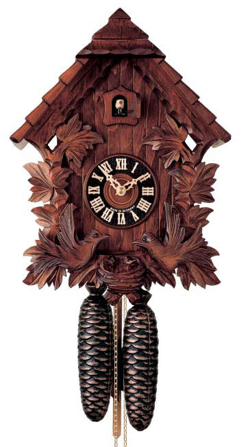 Large 8-Day Mechanical Carved Chalet with Moving Birds Cuckoo Clock