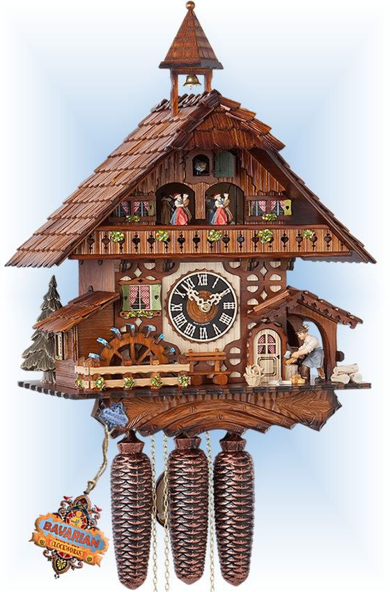 Large 8-Day Mechanical Chalet Musical Cuckoo Clock with Wood-chopper and Dancers