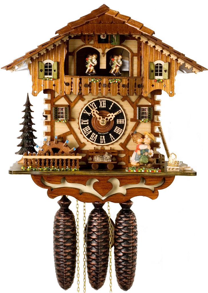 Large 8-Day Mechanical Chalet Musical Cuckoo Clock with Kissing Couple and Dancers