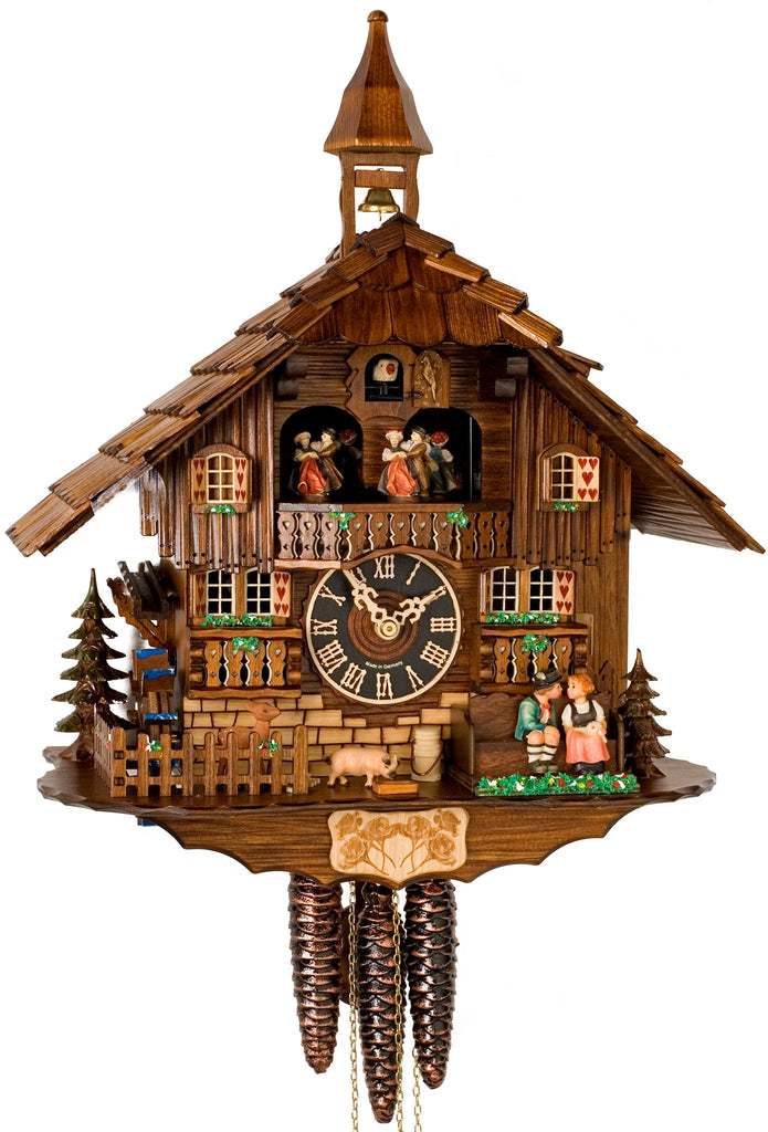 Large 1-Day Mechanical Chalet Musical Cuckoo Clock with Kissing Couple on Bench