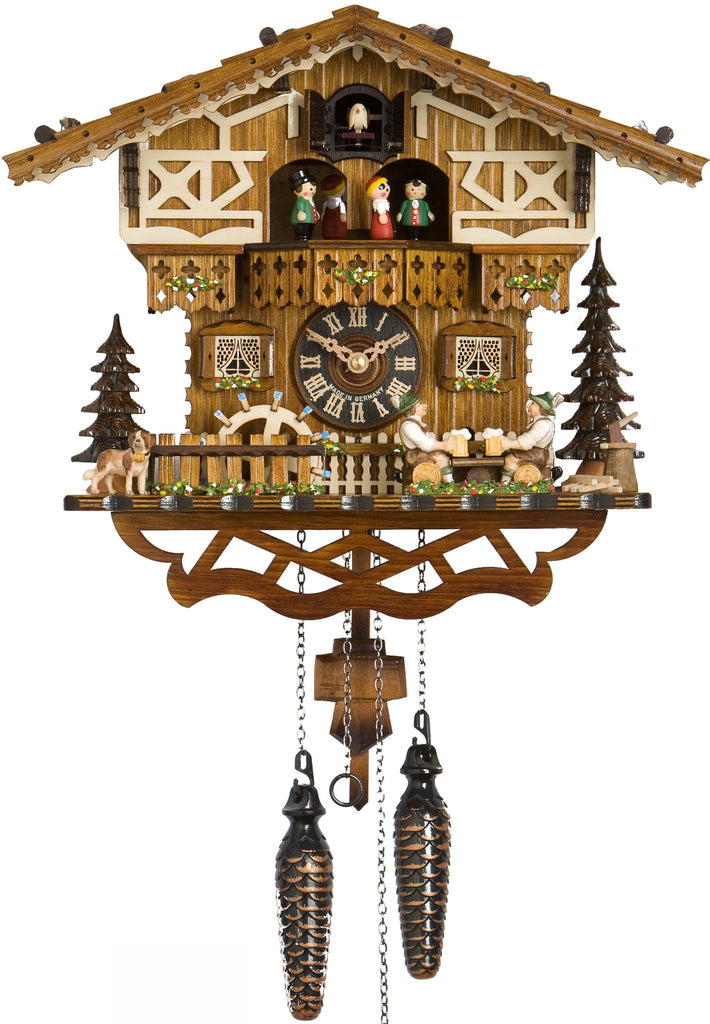 Large Battery-Operated Chalet Cuckoo Clock with Beer-Drinkers, Waterwheel and Dancers