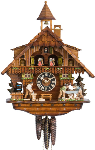Large 1-Day Mechanical Chalet Musical Cuckoo Clock with Wood-chopper and Sawyers
