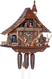 Large 8-Day Mechanical Chalet Musical Cuckoo Clock with Girl Feeding Deer