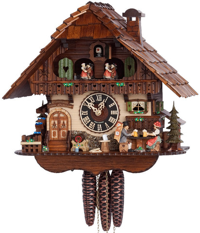 Large 1-Day Mechanical Chalet Musical Cuckoo Clock with Toasting Couple