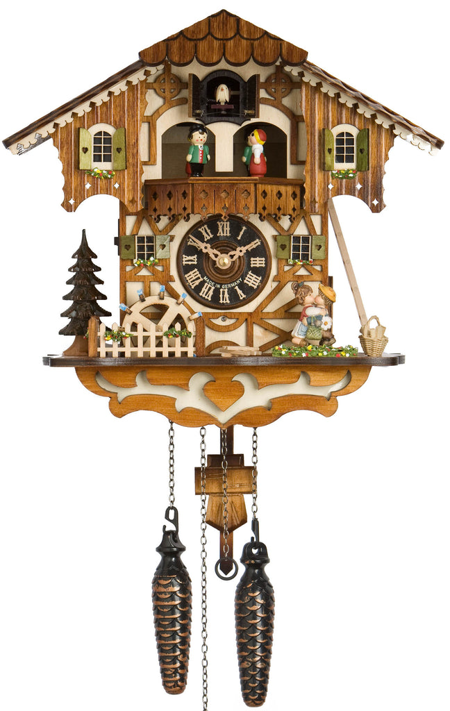 Large Battery-Operated Chalet Cuckoo Clock with Kissing Couple and Dancers