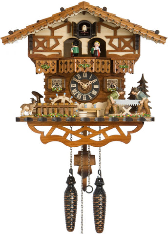 Large Battery-Operated Chalet Cuckoo Clock with Sawyers and Dancers