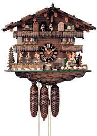 Large 8-Day Mechanical Chalet Musical Cuckoo Clock with Kissing Couple