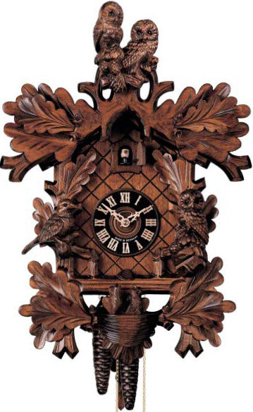 Large 8-Day Mechanical Cuckoo Clock with Carved Owls and Birds