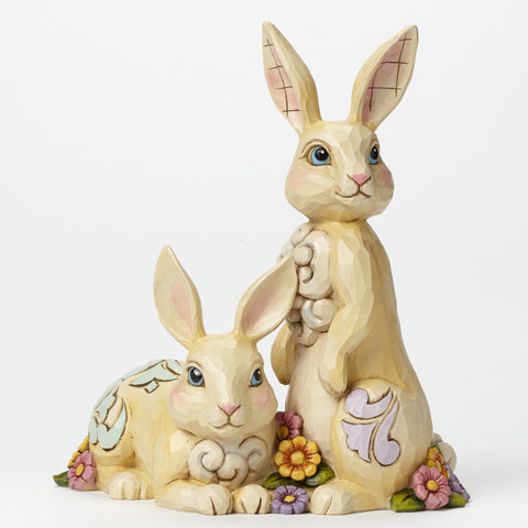Two Bunnies with Flowers Jim Shore Heartwood Creek