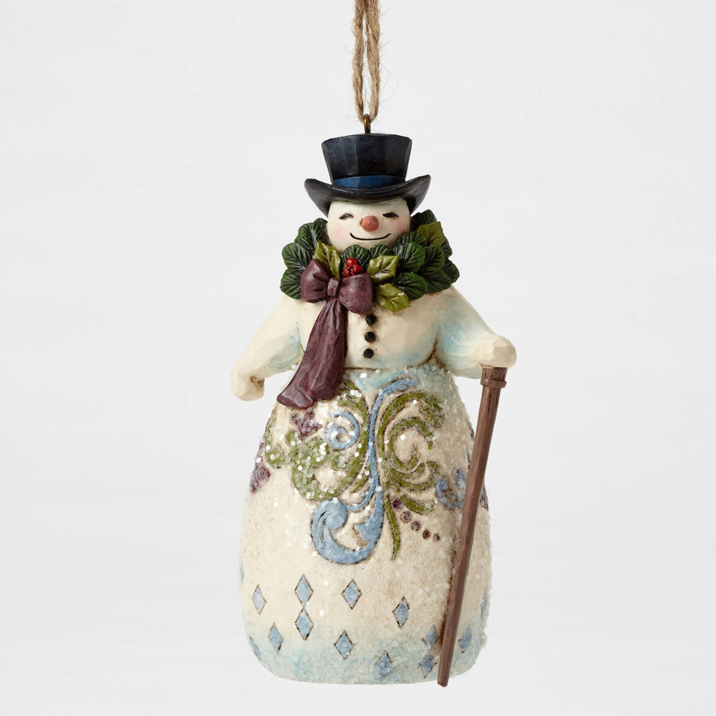 Victorian Snowman with Wreath Ornament Jim Shore Heartwood Creek