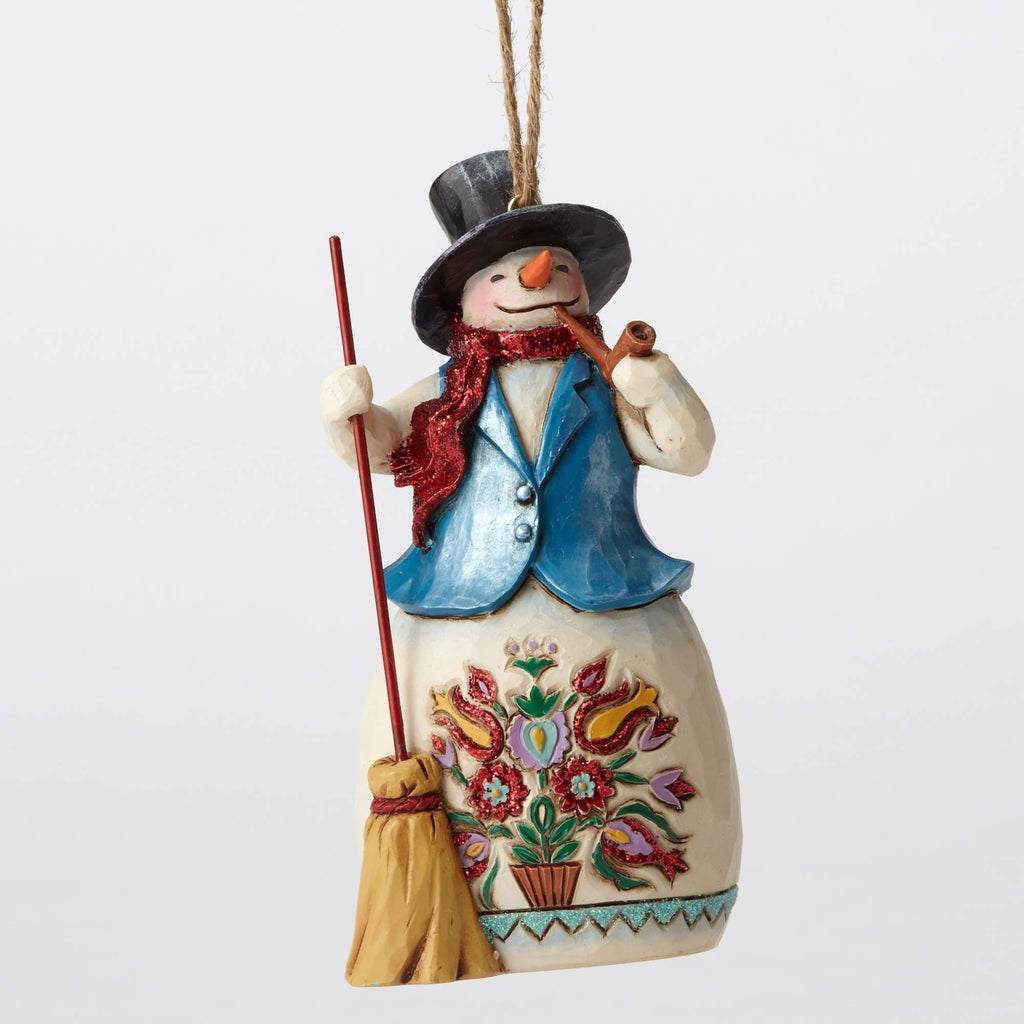 Wonderland Snowman Broom Ornamnet Jim Shore Heartwood Creek