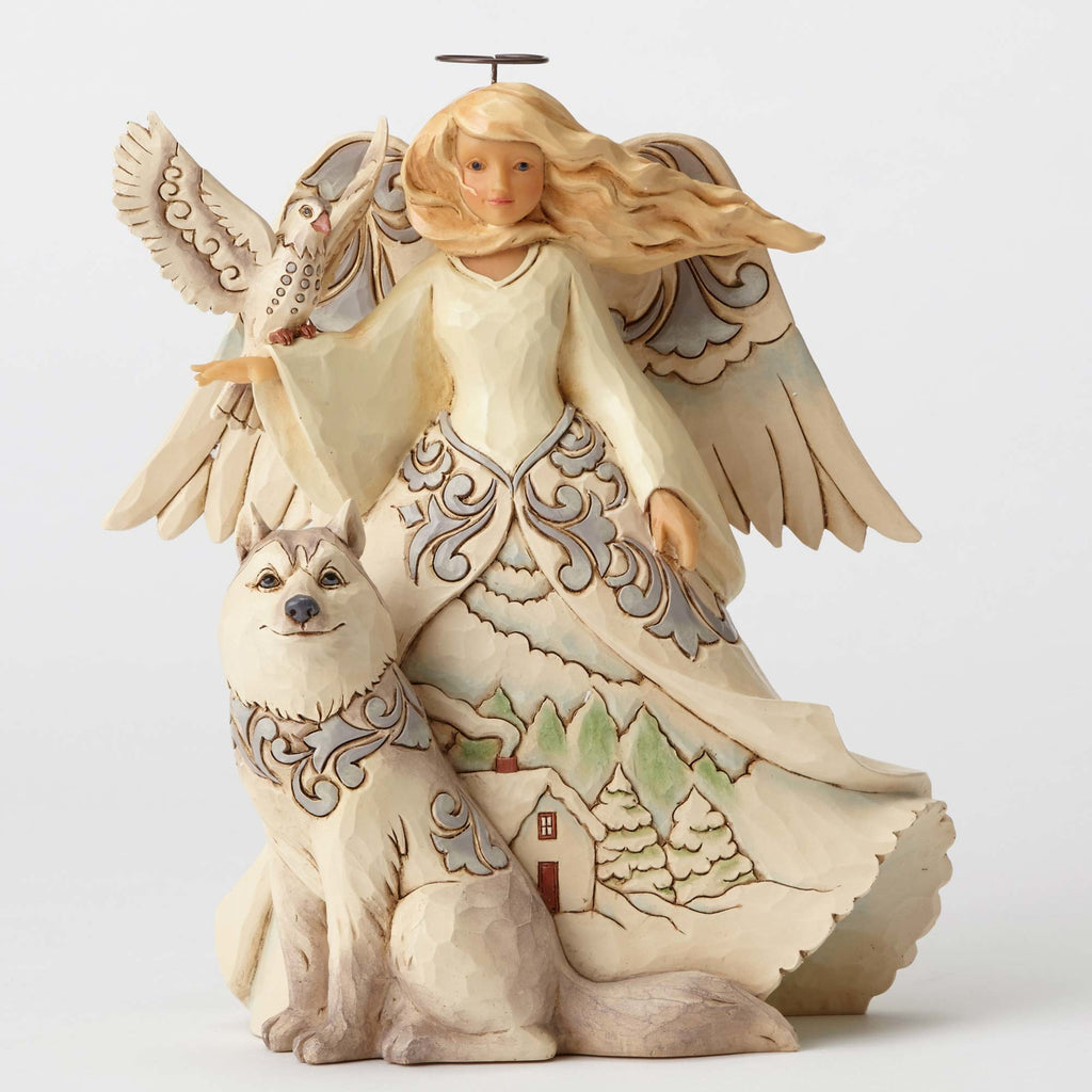 White Woodland Angel with Husky Jim Shore Heartwood Creek