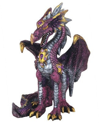 "Purple Dragon with Gold Accents, 5""H"