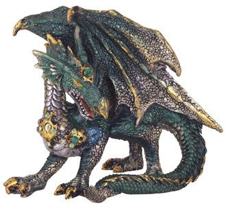 "Green Dragon with Gold Accents, 4""H"