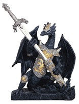 "Black Dragon with Armour and Sword, 6 1/2""H"