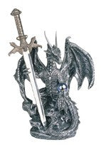 "Silver Dragon with Sword, 5""H"