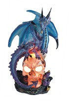 "Blue Dragon on Skull with Color-changing LED Light, 9""H"