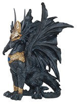 "Black Dragon with Gold Armour, 9 1/2""H"