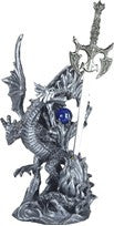 "Silver Dragon with Sword and Blue Sphere, 10""H"