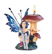 Blue Fairy With Mushroom Candle Holder