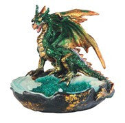 "Green Dragon on Blue/Green Crystal Tray, 3""H"