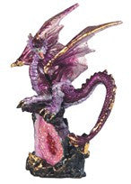 "Pink/Purple Dragon on Pink Crystal, 5""H"