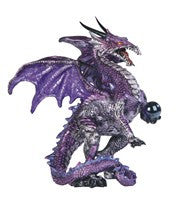 "Purple Dragon holding Small Sphere, 5""H"