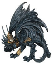 "Black Dragon with Gold Armour, 8""H"