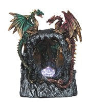 "Green and Red Dragons atop Black Cave with Color-changing LED light, 9""H"
