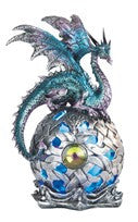 "Blue/Purple Dragon atop Silver Globe with Color-changing LED Light, 8""H"