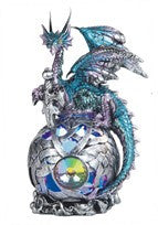 "Blue/Purple Dragon atop Silver Globe with Color-changing LED Light, 6""H"