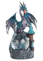 "Blue Dragon with Clear Ball, 8""H"