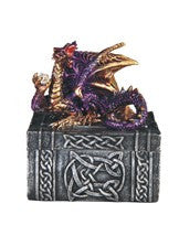 "Dragon Trinket Box, Purple/Gold Dragon atop Rectangular Silver Box, 3 1/2""H"