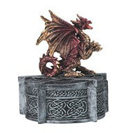 "Dragon Trinket Box, Red/Gold Dragon atop Round Silver Box, 5 3/8""H"