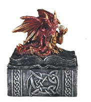 "Dragon Trinket Box, Red Dragon atop Book-shaped Silver Box, 4""H"