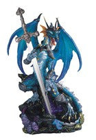 "Blue Dragon with Sword, 13""H"