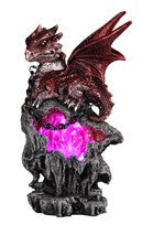 "Red Dragon sitting atop Jeweled Cave with Color-changing LED light, 7 1/4""H"