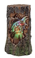 "Dragon Head Carved into Tree Trunk with Color-changing LED Light, 7 1/2""H"