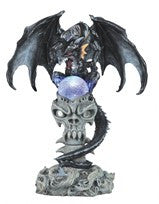 "Black Dragon on Skull with Color-changing LED Light, 14""H"