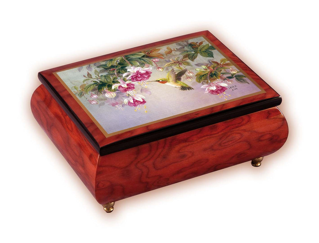 """Hummingbird with Fuchsia"" Italian Inlaid Wood Music Box - Lena Lui"