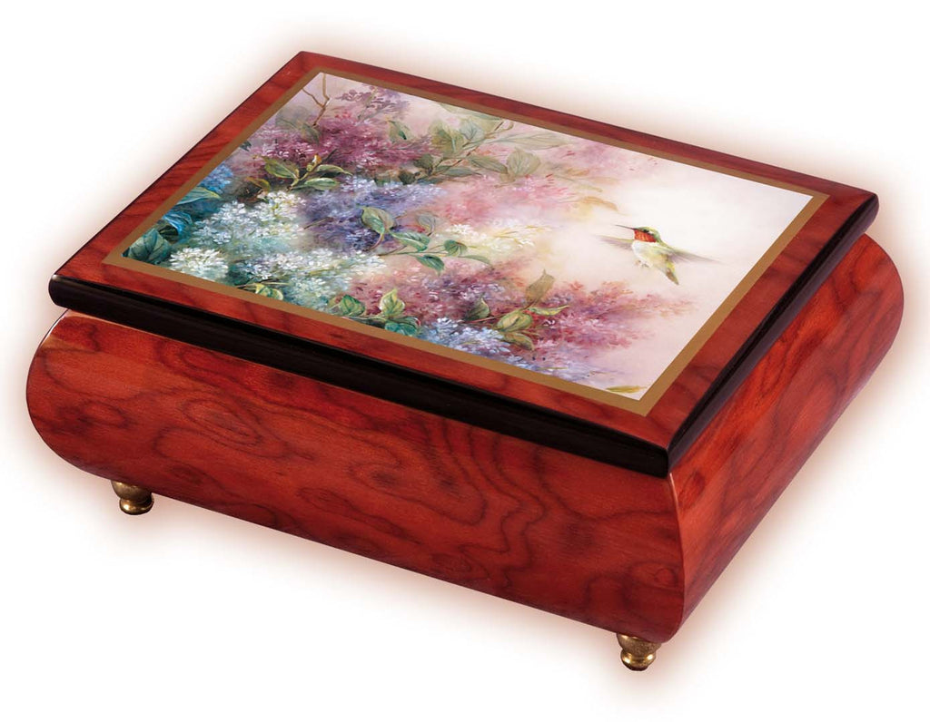 """Hummingbird with Lilacs"" Italian Inlaid Wood Music Box - Lena Lui"