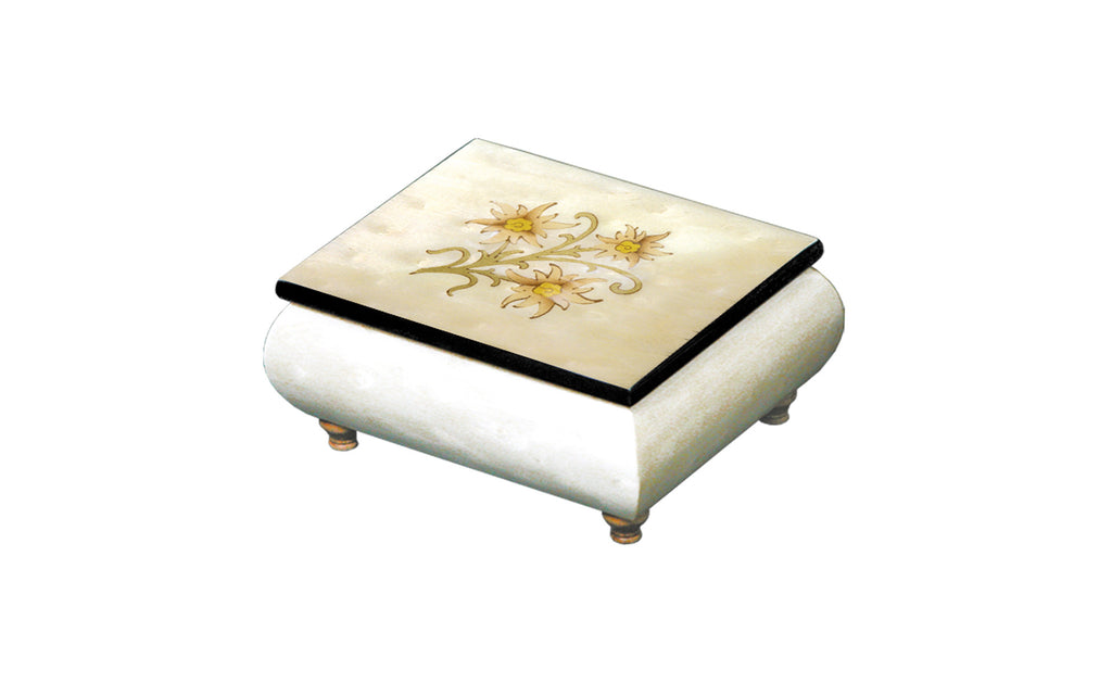 Edelweiss on White Italian Inlaid Wood Music Box