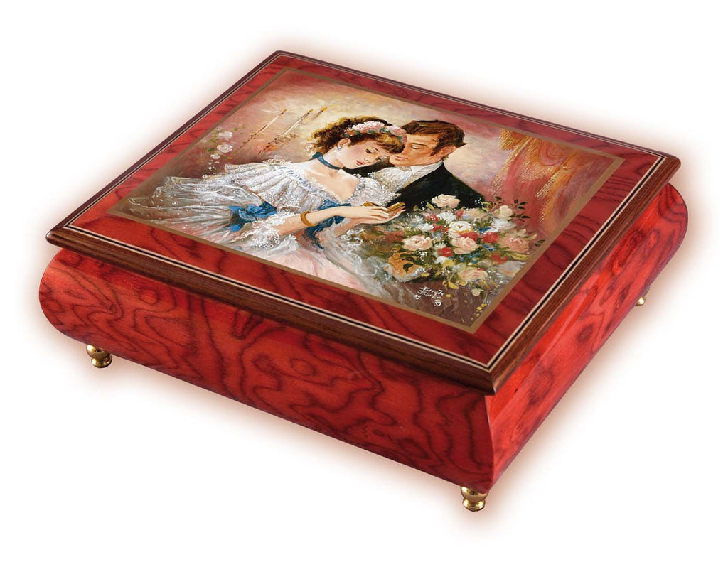 """A Token of Love"" Red Italian Inlaid Wood Music Box – Brenda Burke"