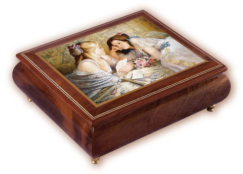 """The Letter"" Brown Italian Inlaid Wood Music Box – Brenda Burke"