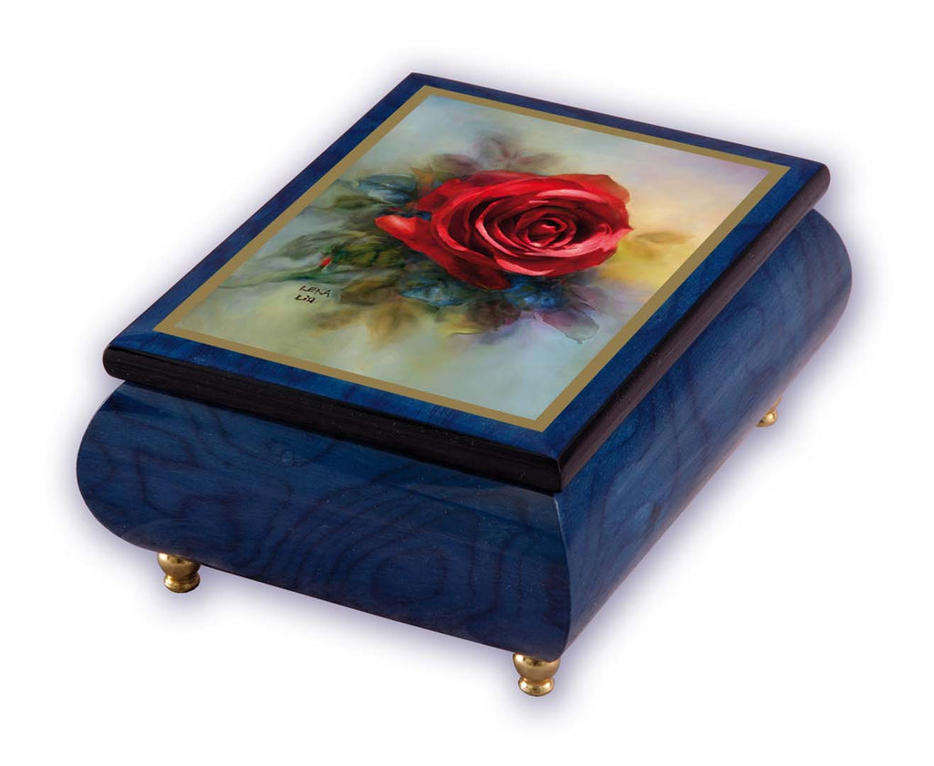 """True Love"" Red Rose on Blue Italian Inlaid Wood Music Box - Lena Lui"