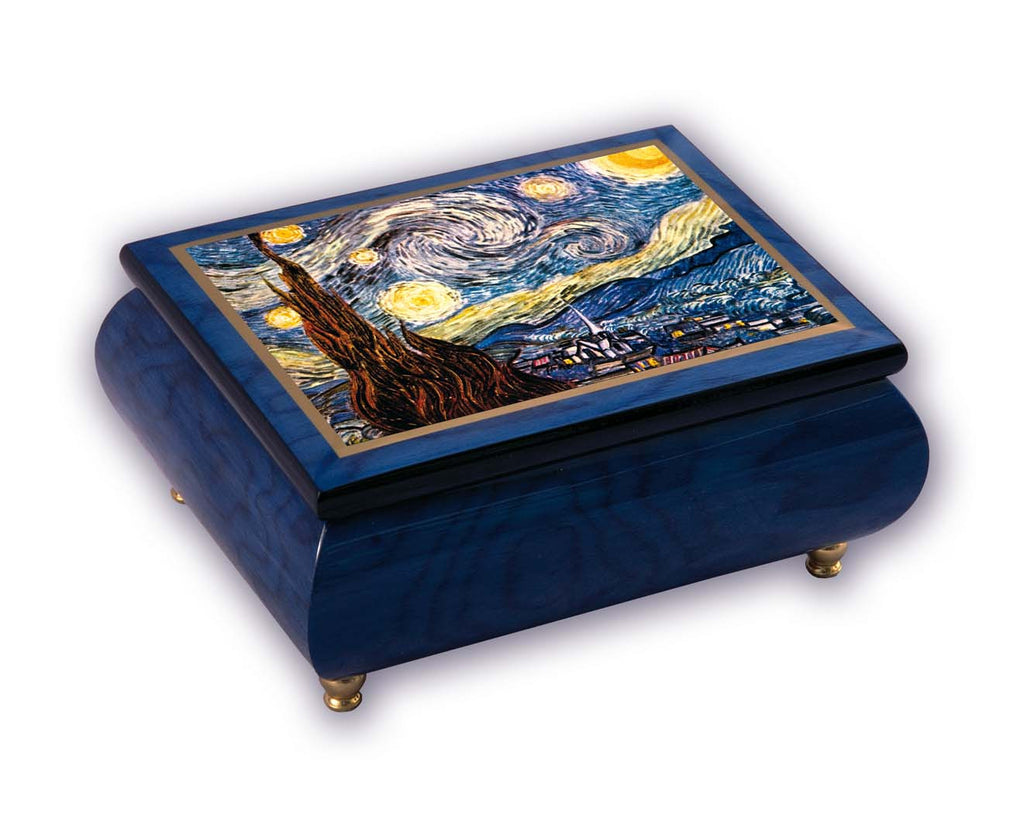 """Starry Night""  Blue Italian Inlaid Wood Music Box - Vincent Van Gogh"